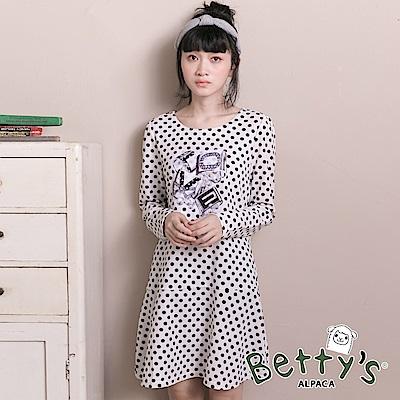 betty's貝蒂思 優雅復古love圓點洋裝(白色)