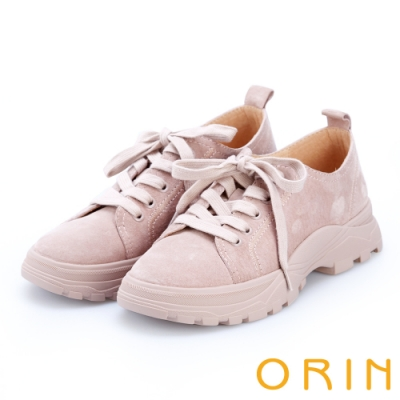 ORIN 潮流同步 真皮綁帶百搭平底休閒鞋-粉紅