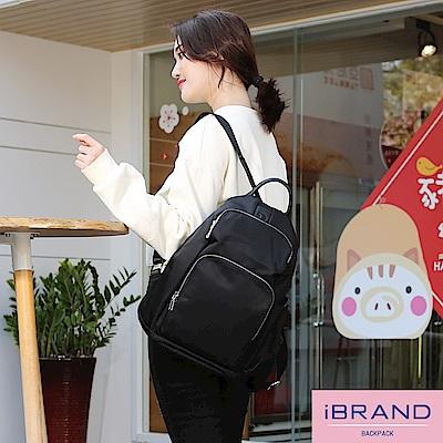iBrand 率性時尚後開式防盜尼龍後背包(大)-黑色