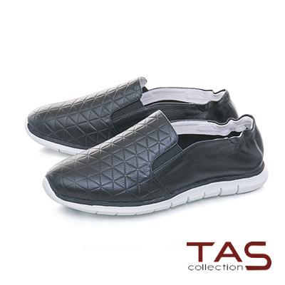 TAS幾何格紋真皮百搭休閒鞋-百搭黑