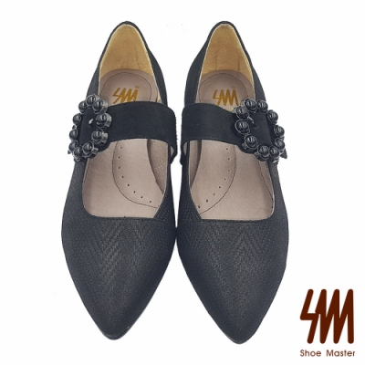 【SM】幾何壓紋羊皮尖頭大理石小花低跟淑女鞋