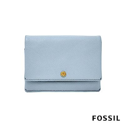 FOSSIL AUBREY金釦設計零錢短夾-粉藍色