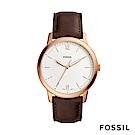 FOSSIL MINIMALIST 簡約設計中性錶-白底咖啡錶帶