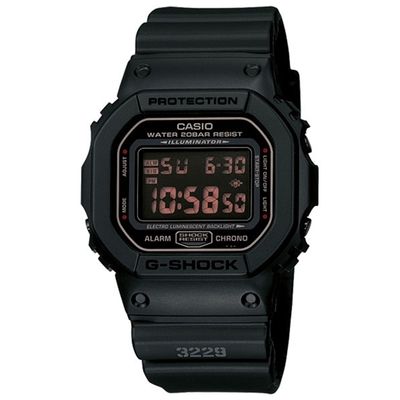 CASIO 卡西歐G-SHOCK系列 軍事風格炫黑方形電子錶DW-5600MS-1-黑x紅/48.9mm