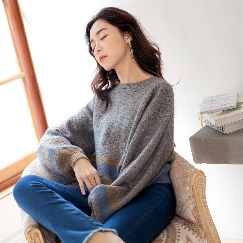 iMODA STAR-臧芮軒。配色條紋圓領澎袖短版針織毛衣 product image 1
