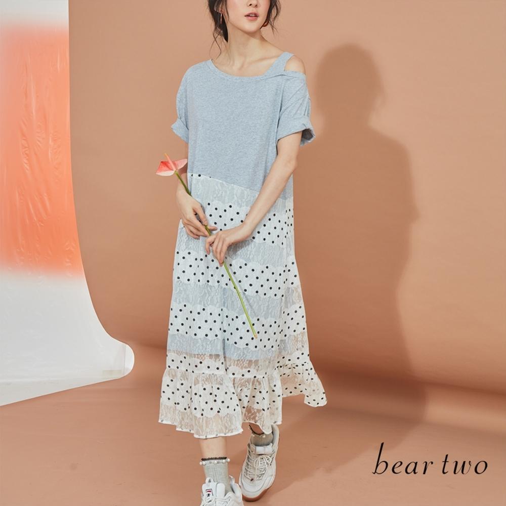 beartwo-剪接點點裙襬洋裝-灰