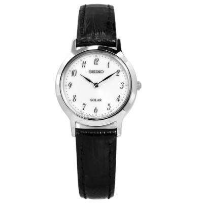 SEIKO 精工 簡約 太陽能 礦石強化玻璃 防水 牛皮手錶-銀白x黑/26mm