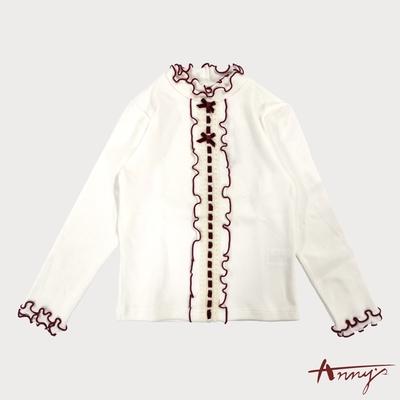 Annys安妮公主-舒適可愛花瓣邊蝴蝶結秋冬款蕾絲滾邊長袖上衣*7439白色