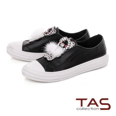 TAS牛皮拼接小豬鑽釦休閒鞋-百搭黑
