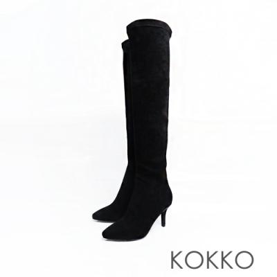 KOKKO - 極瘦尖頭霧面高跟過膝長靴 - 黑