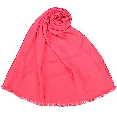 Calvin Klein CK滿版LOGO絲質寬版披肩圍巾-桃紅色