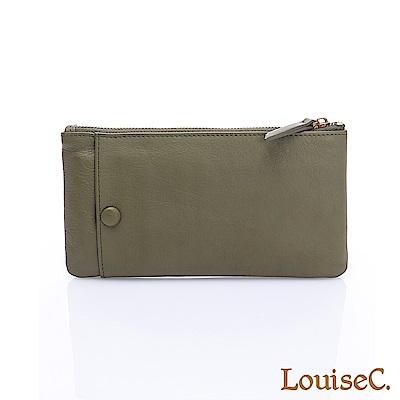 LouiseC.清新自然大外袋牛皮拉鍊長夾(活動卡夾)-綠色HGSB710528-08