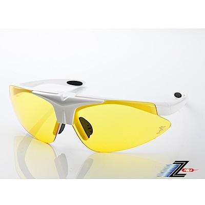 【Z-POLS】MIT頂級可掀設計質感白搭夜用黃防爆PC頂級運動眼鏡