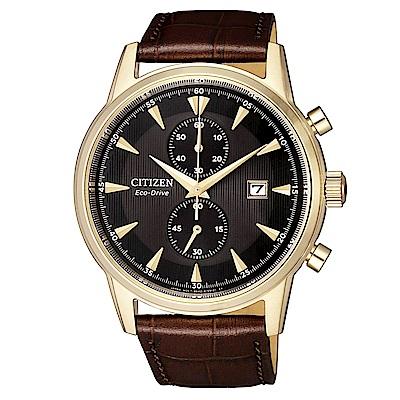 CITIZEN 星辰光動能計時真皮手錶(CA7008-11E)-黑X咖啡/42.5mm