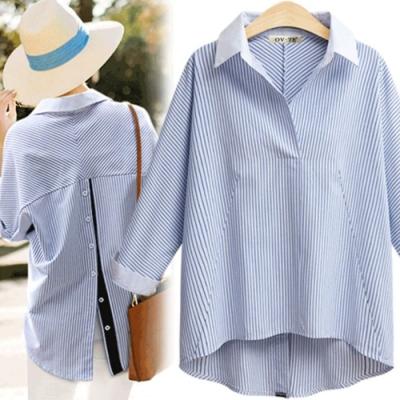 MOCO白色襯衫領背排釦黑色直條拼接袖子藍色細條紋開釦襯衫