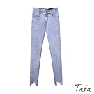 不對襯褲頭下擺抽鬚牛仔褲 共二色 TATA-(S~XL)