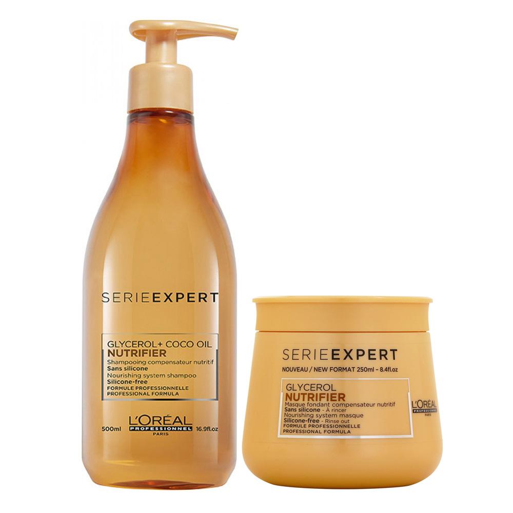 LOREAL萊雅 絲漾博保濕升級版小資洗護組(洗髮500ml+髮膜250ml)