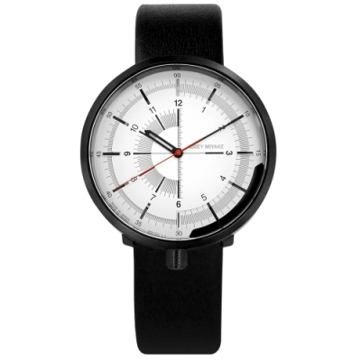 ISSEY MIYAKE 三宅一生 One-Sixth系列 真皮機械錶-白x黑/43mm