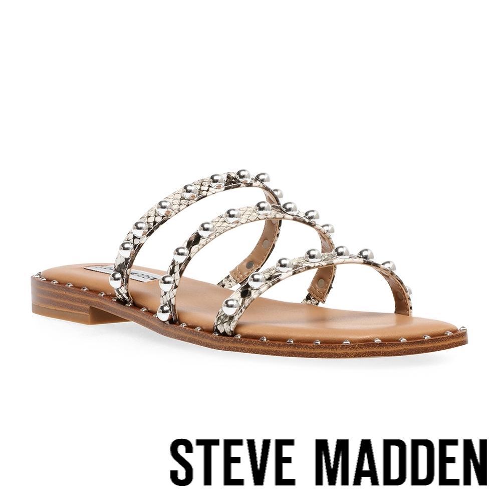 STEVE MADDEN-TAYRA 珠珠細帶平底涼拖鞋-蛇皮咖