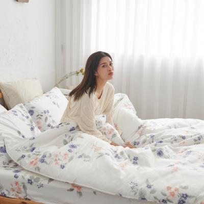 BUHO 天然嚴選純棉雙人加大四件式床包被套組(沐花絲縷)