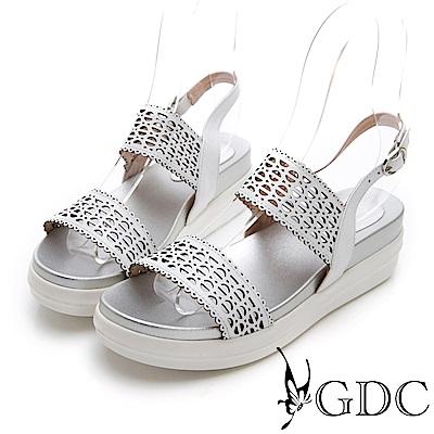 GDC-夏日真皮鐳射金屬風簍空涼鞋-白色