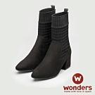 WONDERS-針織麂皮踝靴 (黑)