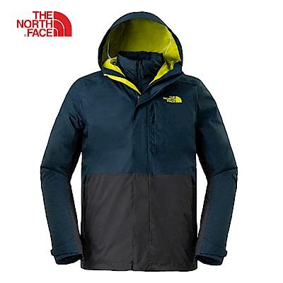 The North Face北面男款藍灰撞色防水透氣三合一夾克|3L8OXD9
