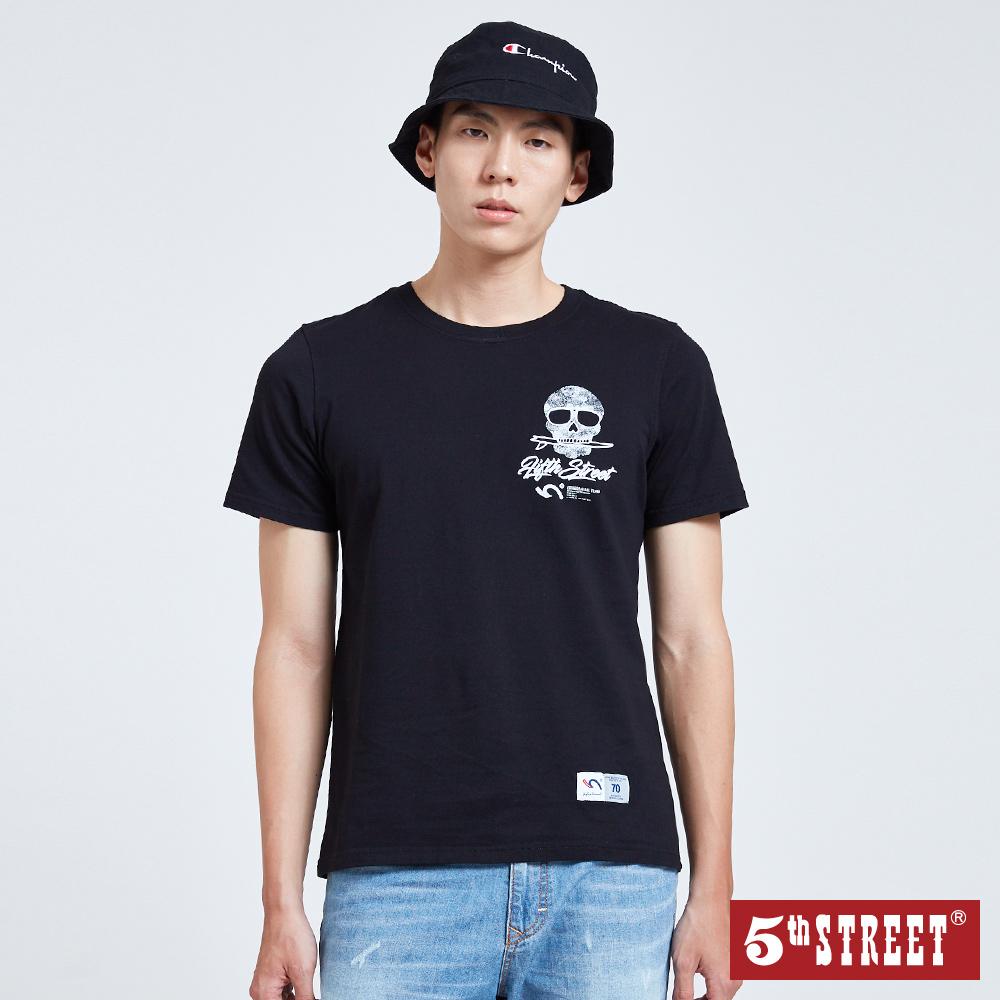 5th STREET 骷髏頭滑板印花短袖T恤-男-黑色