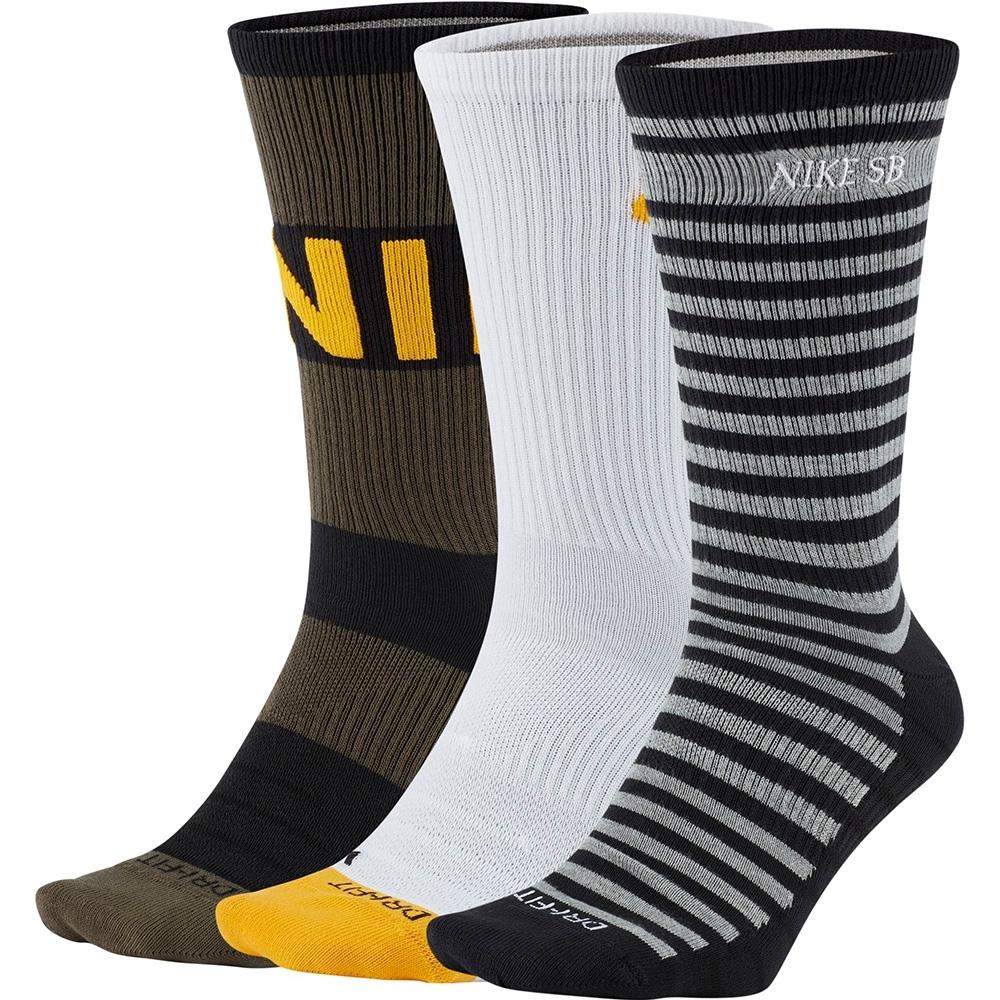NIKE 襪子 運動襪 長襪  黑白黃 CU6479902 六雙組 U NK SB EVERYDAY MAX LTWT CREW