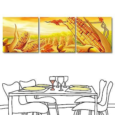 123點點貼 三聯無痕壁貼窗貼-黃金玉米田30x30cm