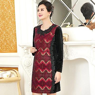 奢華絲絨鑽花蕾絲洋裝-XL~5XL-理子時尚