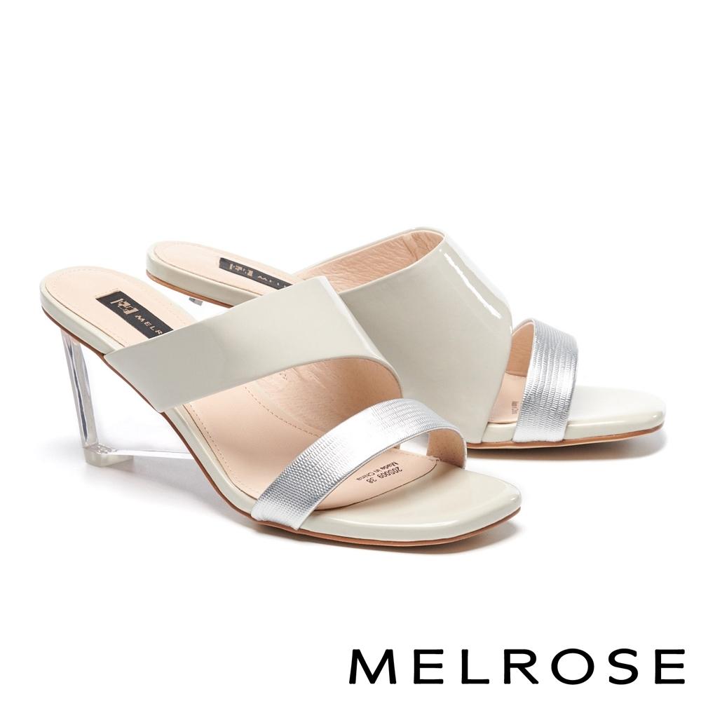 拖鞋 MELROSE 時髦亮麗異材質拼接方頭高跟拖鞋-米