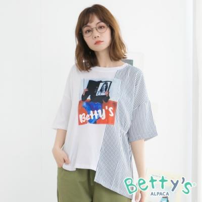 betty's貝蒂思 人像印花拼接下擺不對稱T-shirt(白色)