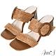 Ann'S日系渡假感-圓釦寬帶編織方頭粗跟涼拖鞋-棕 product thumbnail 1