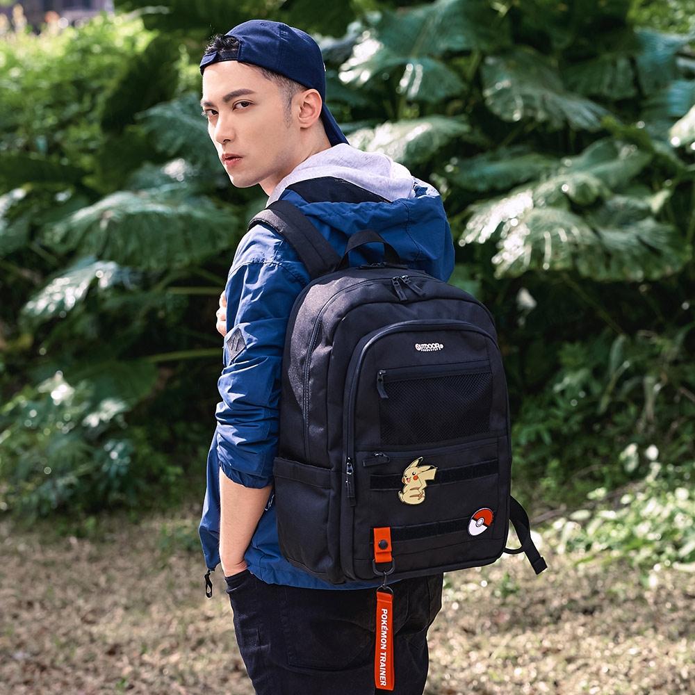 【OUTDOOR】Pokemon聯名款訓練家系列15.6吋筆電後背包-大-黑色 ODGO20C01BK