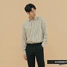 H:CONNECT 韓國品牌 男裝 - 都會感直條紋襯衫 - 卡其