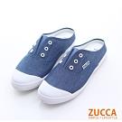 ZUCCA-帆布穿繩洞休閒拖鞋-藍-z6510be