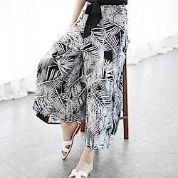 La Belleza棕櫚葉印花鬆緊腰附黑色綁帶闊腿褲寬褲裙