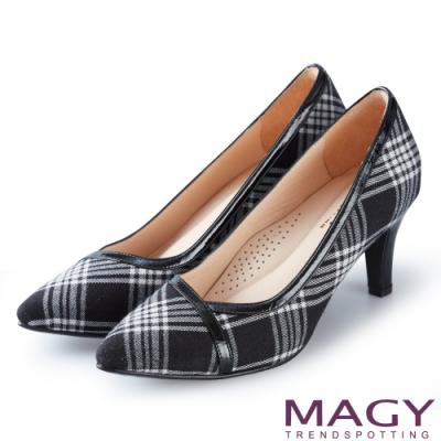 MAGY 時髦氣場 雙材質拼接尖頭高跟鞋-格紋黑