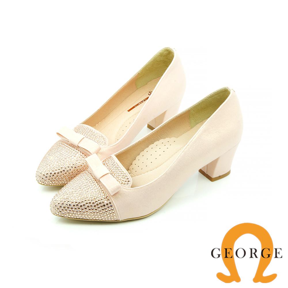 【GEORGE 喬治皮鞋】都會休閒 蝴蝶結水鑽拼接面料真皮粗跟鞋-粉
