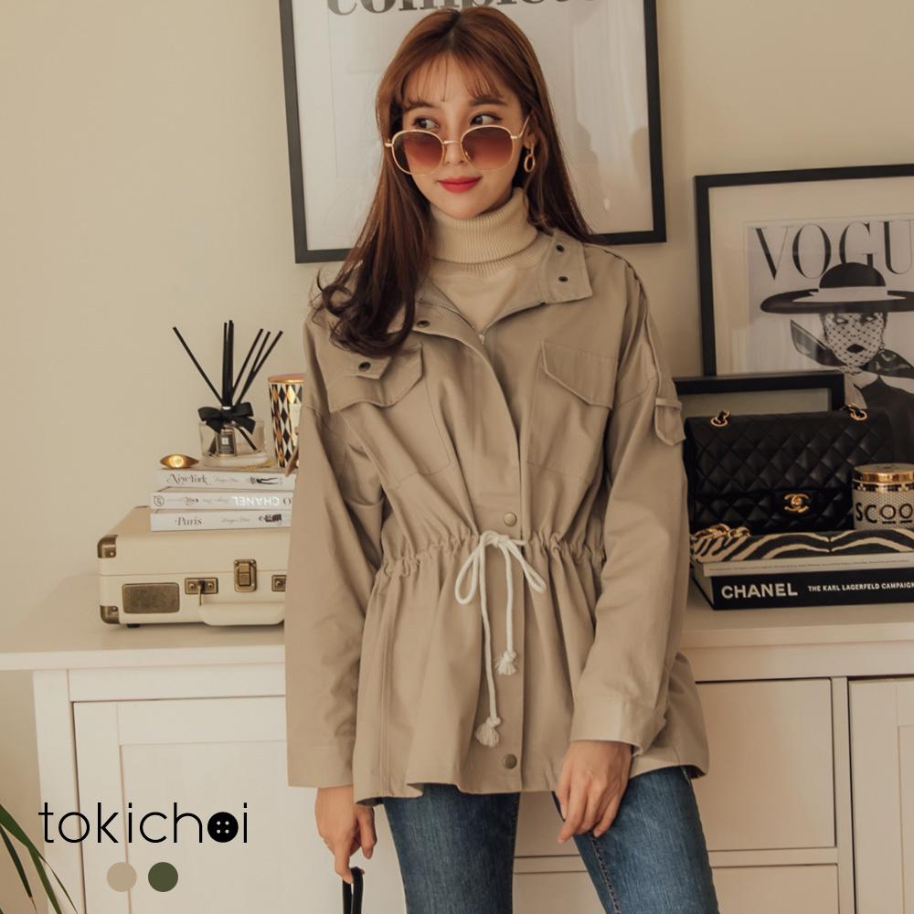 東京著衣 休閒個性多色率性縮腰綁帶拉鍊排釦外套(共二色)