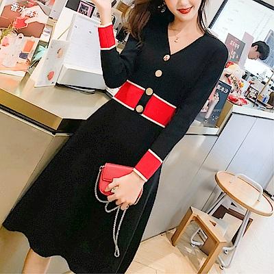 DABI 韓系V領紐扣拼色針織氣質修身時尚長袖洋裝