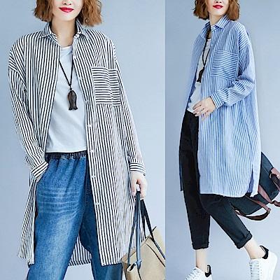 La Belleza直條紋橫條單口袋側開叉長版襯衫洋裝外套