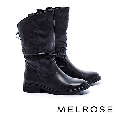 中筒靴 MELROSE 經典百搭率性皺折打臘牛皮粗低跟中筒靴-黑