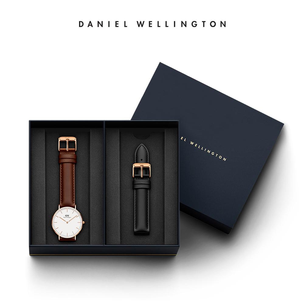 DW 禮盒 官方旗艦店 36mm紅棕真皮錶+爵士黑真皮錶帶(編號05)