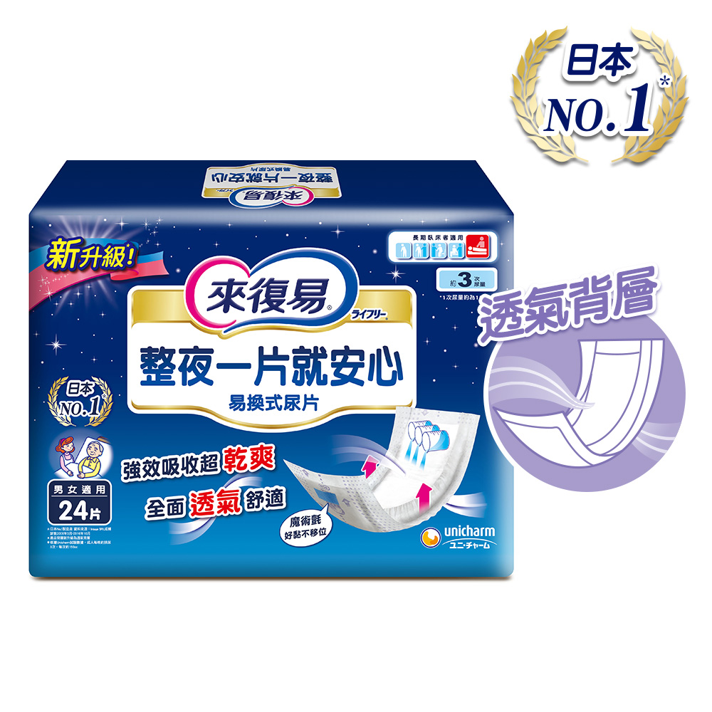 來復易 整夜一片就安心尿片(24片 x6包/箱)(搭配成人紙尿褲)