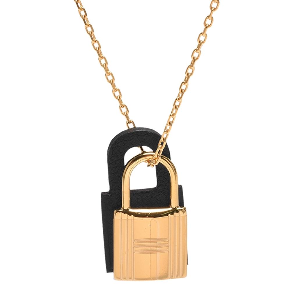 HERMES 經典O'Kelly系列鎖頭造型吊墜項鍊(小-黑色X金)