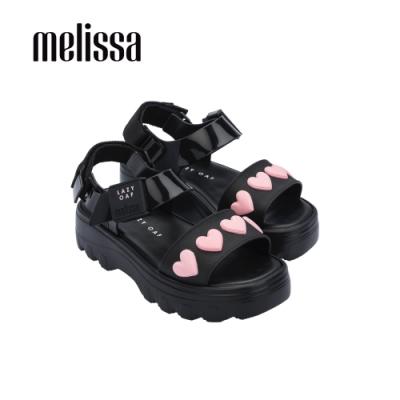 Melissa x Lazy Oaf 聯名厚底立體心型設計涼鞋-黑
