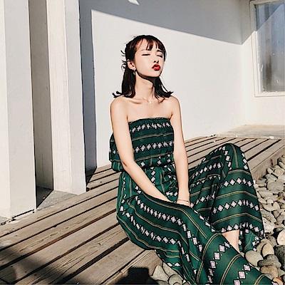 DABI 韓國復古風平口顯瘦大擺度假風連身褲套裝無袖褲裝