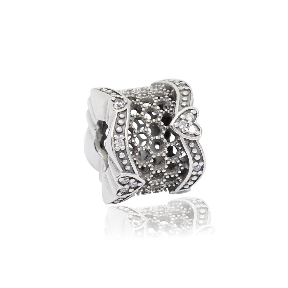 Pandora 潘朵拉 蕾絲之心鑲鋯 純銀墜飾 串珠